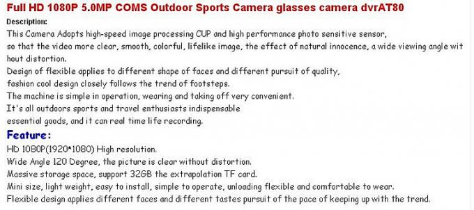Portable COMS Outdoor Sports Action Camcorder For Hiking , Support To 16GB
